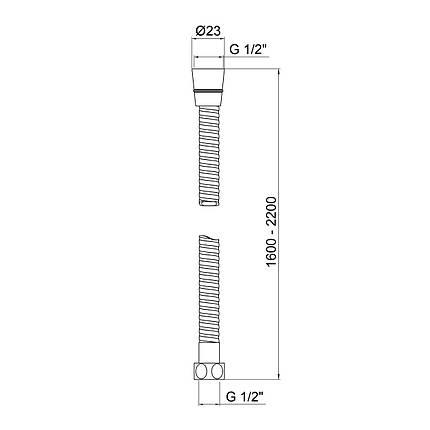 Шланг для душа Lidz (CRM)-50 08 160 00, фото 2