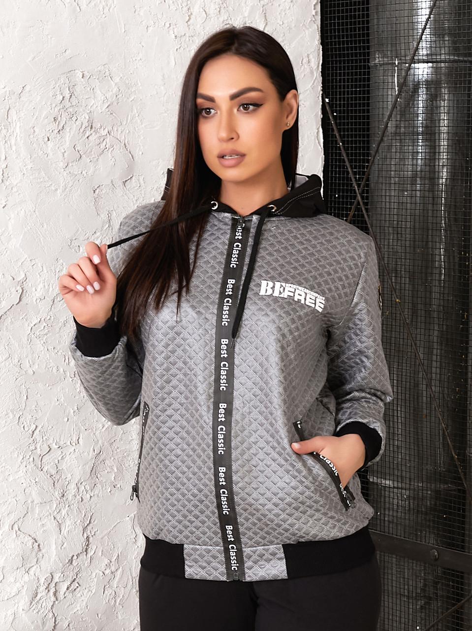Демисезонная женская куртка Slazer из стеганной эко-кожи