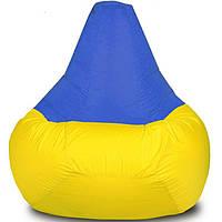 """Детское бескаркасное кресло-мешок """"Груша"""" 90х60 (желтый/синий) Oxford 600 Den"""