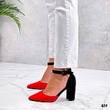 Женские туфли черные / красные с ремешком на каблуке 8,5 см эко замша, фото 2