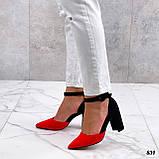 Женские туфли черные / красные с ремешком на каблуке 8,5 см эко замша, фото 3