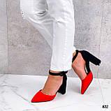Женские туфли черные / красные с ремешком на каблуке 8,5 см эко замша, фото 5