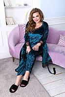 Красивый женский бархатный комплект тройка пижама маечка штаны и халат с кружевом изумрудный 52 54 56