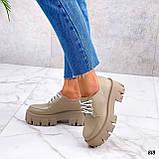 Туфли / броги женские бежевые натуральная кожа, фото 3