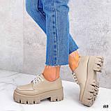 Туфли / броги женские бежевые натуральная кожа, фото 5