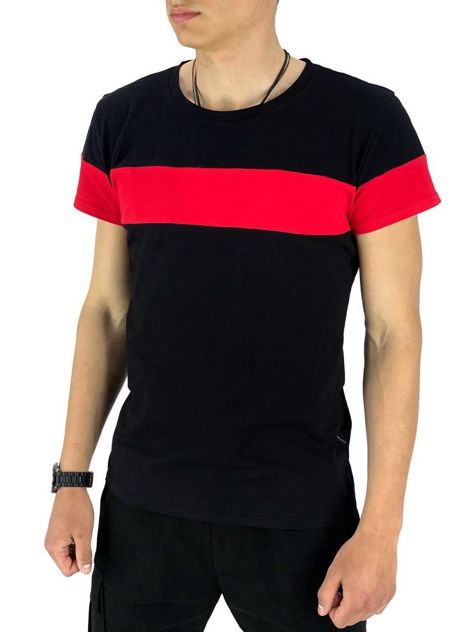 Футболка Intruder Color Stripe М Чорний з червоним (1589369461/ 1)
