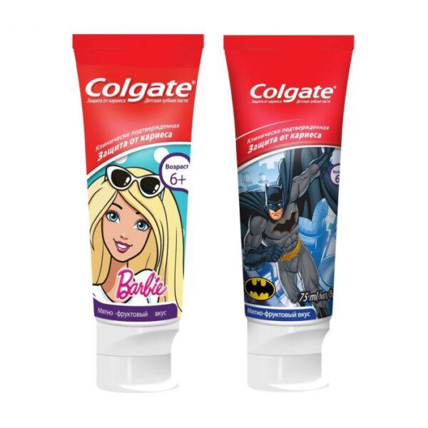 Детская зубная паста Colgate колгейт Барби/Бетмен, защита от кариеса, от 6 лет, 75 мл