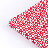 Тканина бязь з біло-червоними сердечками в квадратиках, №3358а, фото 3