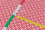 Тканина бязь з біло-червоними сердечками в квадратиках, №3358а, фото 4