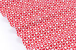 Тканина бязь з біло-червоними сердечками в квадратиках, №3358а, фото 5