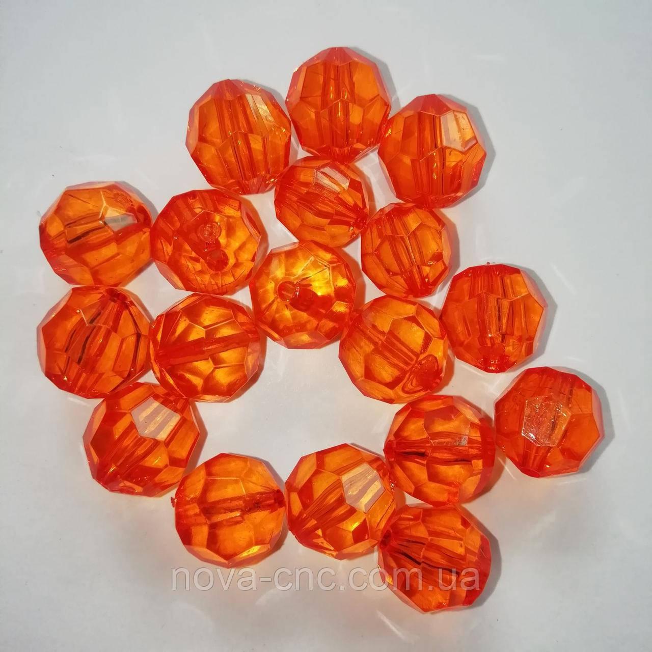 "Намистини ""гранатики"" акрил помаранчевий 13 мм 500 грам"