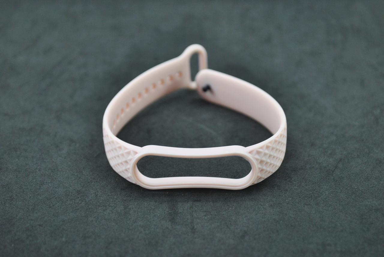 Ремінець для фітнес браслета Xiaomi mi band 5/6 Ромб Pink sand