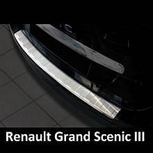 Защитная накладка на задний бампер для Renault Grand Scenic III 2009-2018 /нерж.сталь/