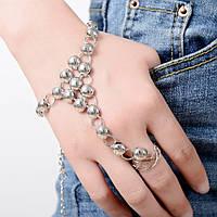 Элегантный слейв браслет (украшение) на руку Серебряный №11