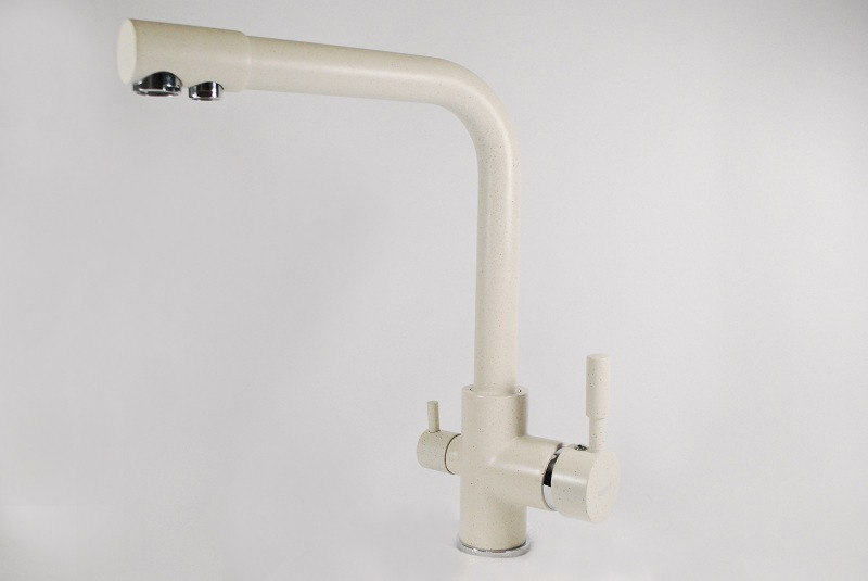 Змішувач для кухні і фільтра Zerix LR 4055-3 white біло-молочний