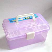 Органайзер пластиковий контейнер для зберігання косметики великий Рожевий Фіолетовий
