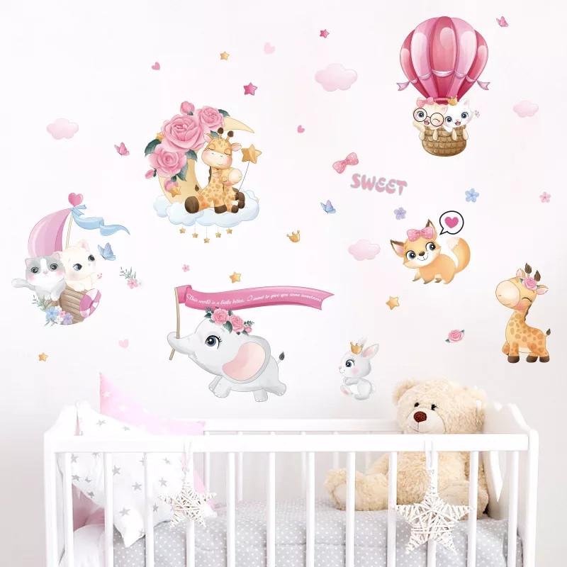 """Декоративные наклейки для детского сада, в детскую на стены """"котята в воздушном шаре """" 55*80см (лист50*70см)"""