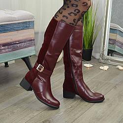 Женские бордовые сапоги на невысоком каблуке, из натуральной кожи и замши. 40 размер