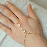 Мила прикраса на руку Слейв браслет з квіточками Золото, фото 1