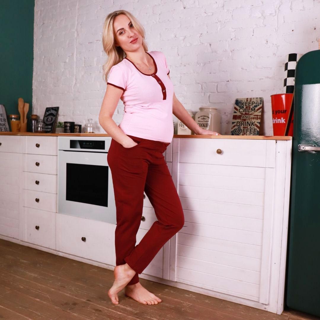 Піжама для вагітних і годуючих мам (штани + футболка) бордо