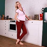 Пижама для беременных и кормящих мам (штаны + футболка) бордо