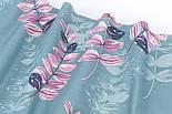 """Поплин шириной 240 см """"Большие листья акации"""" розовые на шалфейном (№3335), фото 2"""