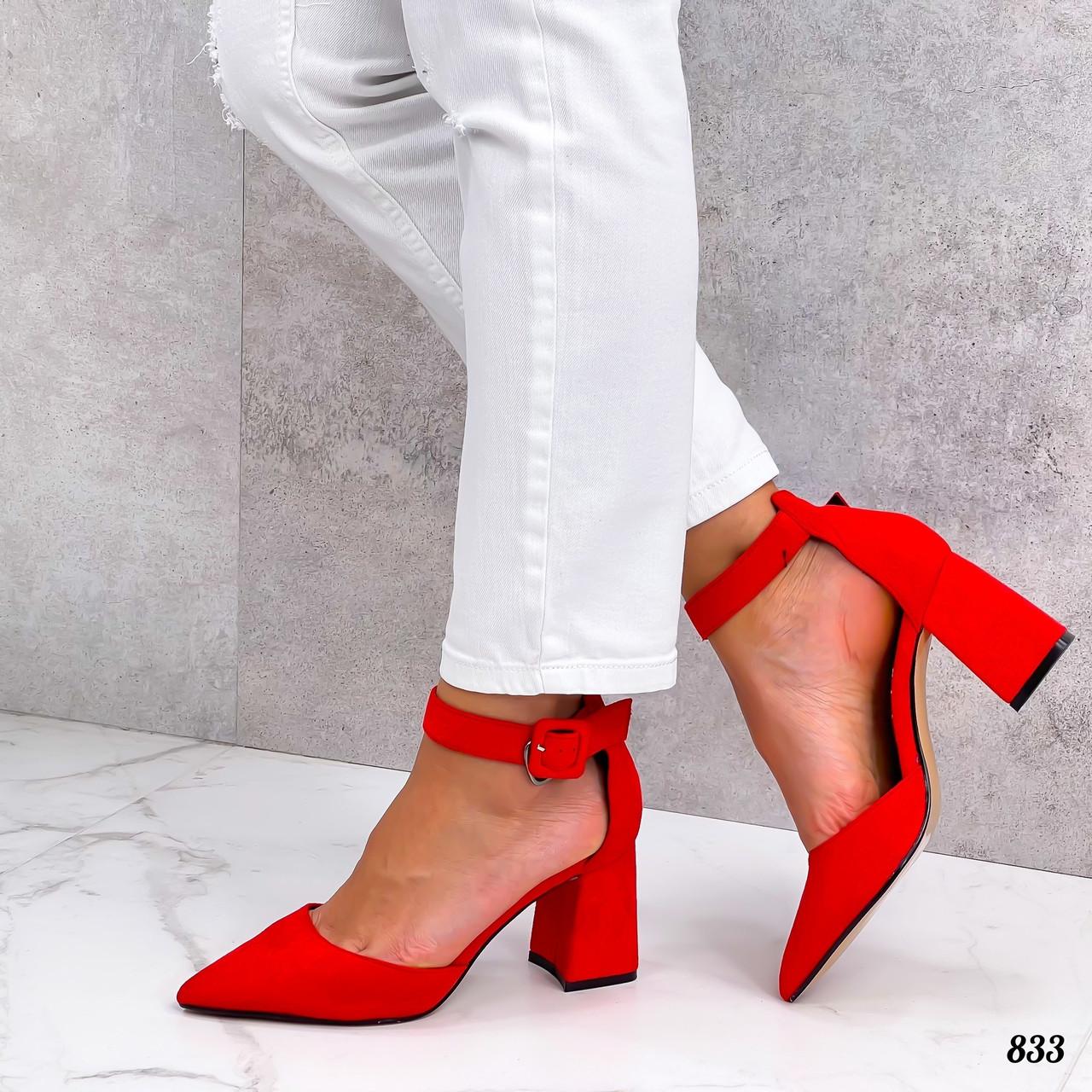 Красные босоножки закрытый носочек на каблуке 8 см.
