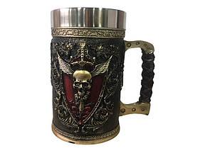 Кружка Чашка 3D Skull Mug Череп Пивний кухоль з Гербом Крилатого Черепа