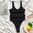 Купальник черный в рубчик с поясом слитный купальник черного цвета модный стильный новинка - 130-222, фото 3