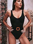 Купальник черный в рубчик с поясом слитный купальник черного цвета модный стильный новинка - 130-222