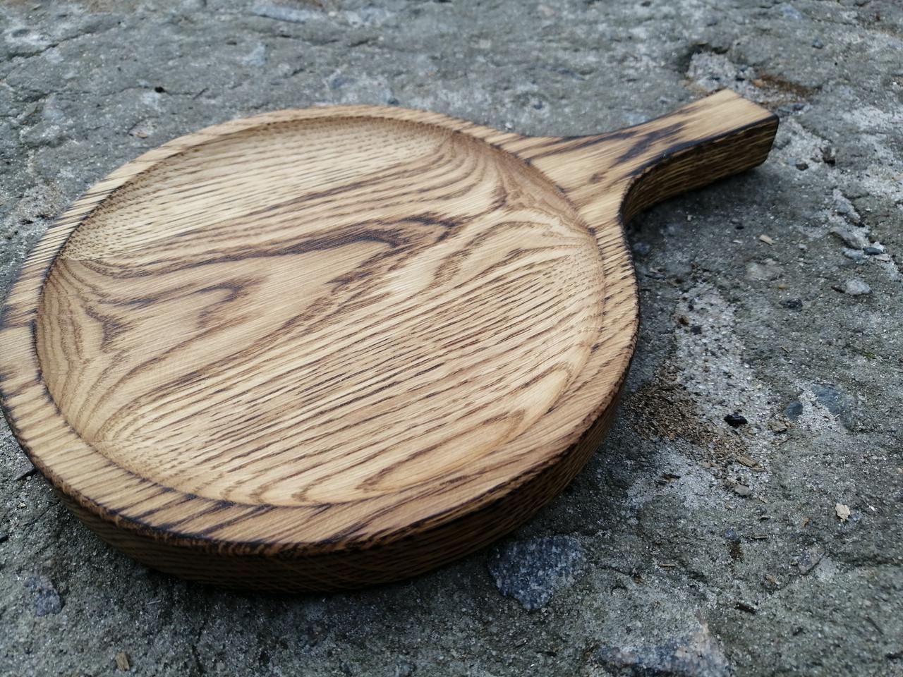Дерев'яна кругла Дошка з ручкою, поглибленням і випаленням