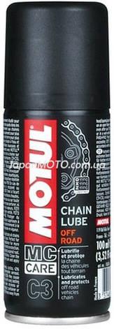 Смазка для цепей внедорожных мотоциклов MOTUL C3 Chain Lube Off Road (100ML) Франция, фото 2