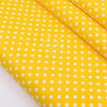 """Лоскут сатина  """"Горошек 7 мм белый"""" на жёлтом, №2767с, размер 35*80 см, фото 2"""