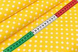 """Лоскут сатина  """"Горошек 7 мм белый"""" на жёлтом, №2767с, размер 35*80 см, фото 3"""