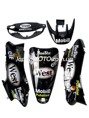 Комплект пластику HONDA DIO AF-35 (різнокольоровий) WEST чорний, фото 2