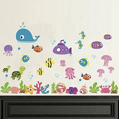 """Наклейка в ванную, на стены, шкаф, окна, зеркало """"рыбки в Красном море"""" 62*100см(лист 50*70см)"""