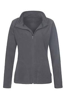 Женская однотонная флисовая кофта цвета темно серый на молнии, размер XS