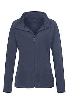 Женская однотонная флисовая кофта цвета темно синий на молнии, размер XS
