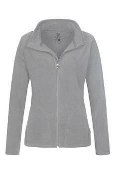 Женская однотонная флисовая кофта цвета светло серый на молнии, размер XS