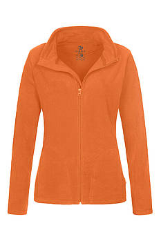 Женская однотонная флисовая кофта цвета оранжевый на молнии, размер XS