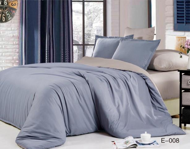 Комплект постільної білизни Bella Villa сатин Євро сіро-блакитний