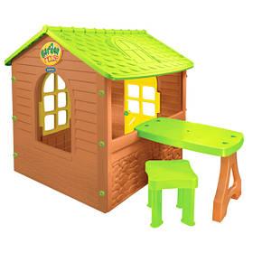 Домик игровой детский пластиковый садовый  Mochtoys столик, табурет 12240