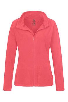 Женская однотонная флисовая кофта цвета розовый на молнии, размер XS