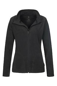 Женская однотонная флисовая кофта цвета черный на молнии, размер XS