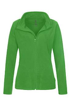 Женская однотонная флисовая кофта цвета зеленый на молнии, размер XS