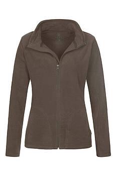 Женская однотонная флисовая кофта цвета коричневый на молнии, размер XS