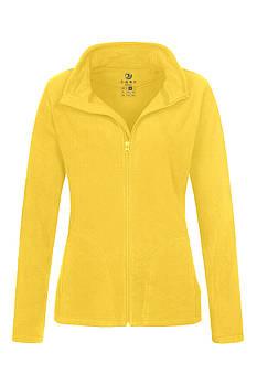 Женская однотонная флисовая кофта цвета желтый на молнии, размер XS