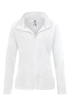 Женская однотонная флисовая кофта цвета белый  на молнии, размер XS