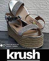 Босоножки KRUSH р.40 ORIGINAL на джутовой платформе со стразами женские, подростковые