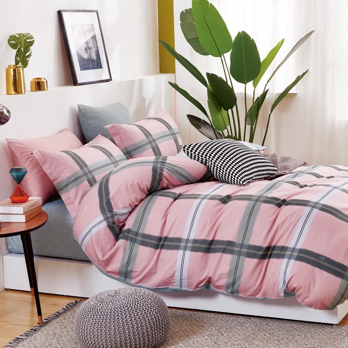 Комплект постільної білизни Bella Villa сатин Євро рожевий